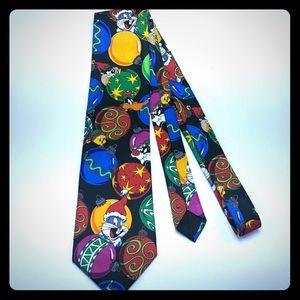 Looney tunes necktie tie Christmas taz bugs bunny